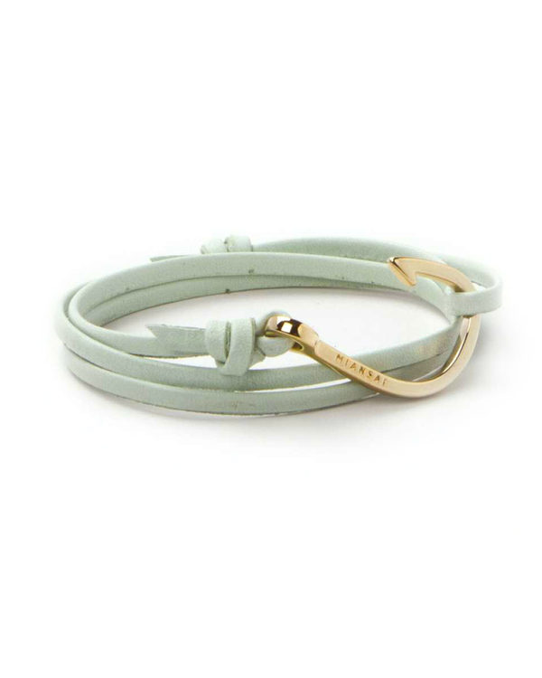 Miansai Gold Fish Hook Leather Wrap Bracelet