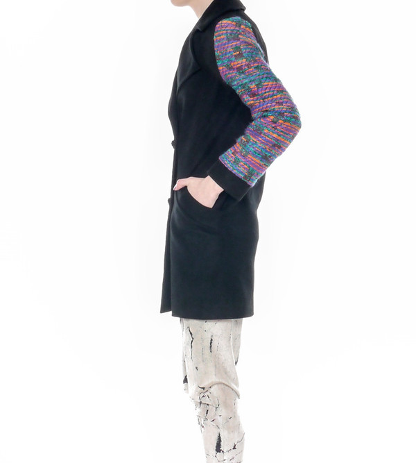 Calla Overcoat with Tweed Sleeves
