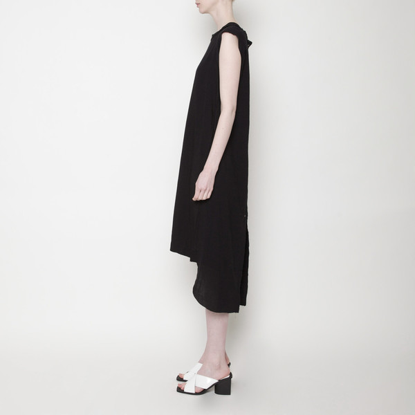 Solid Frayed Edge Dress PF15 - Black