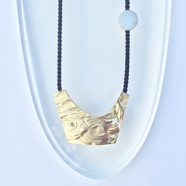 Leigh Miller Brass Crescent Necklace