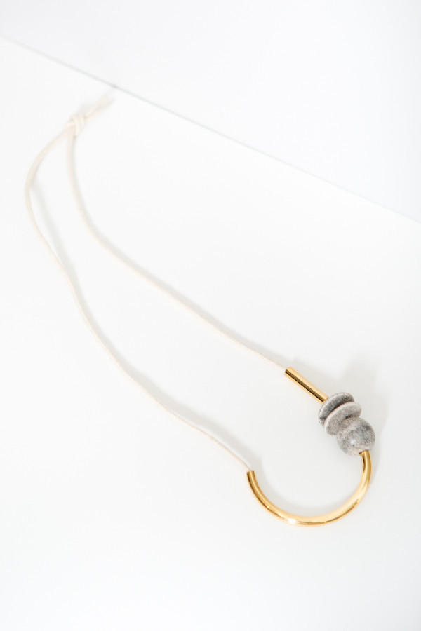 Maslo Jewelry Chock A Block Gold Off White Ceramic Necklace