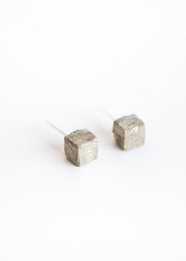 Giant Lion Cube Pyrite Studs