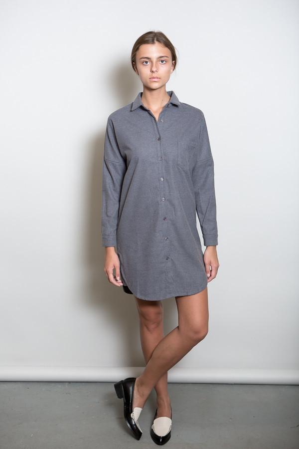 BLQ Basiq Wool Long Sleeve Button Down Dress