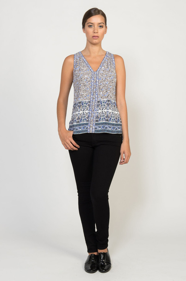 Rebecca Taylor V-Neck Indian Floral Top