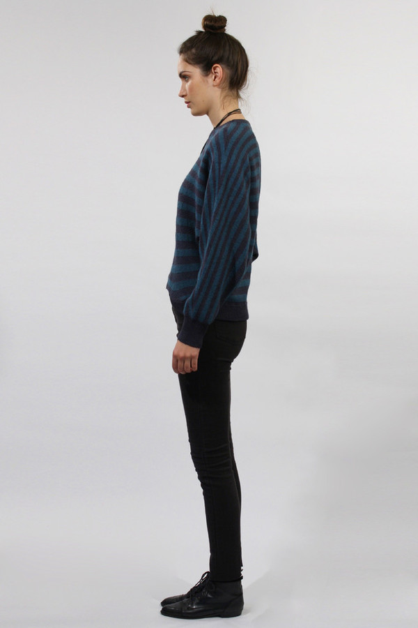Micaela Greg Navy Striped Pointelle Sweater