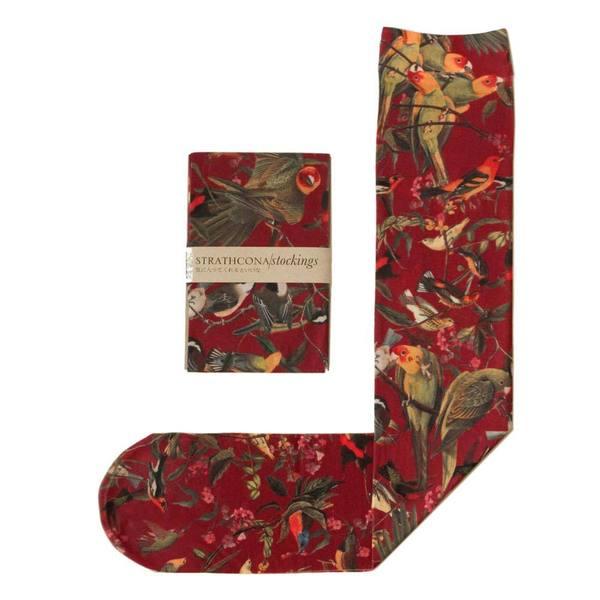 Strathcona Stockings Crimson Birds Socks