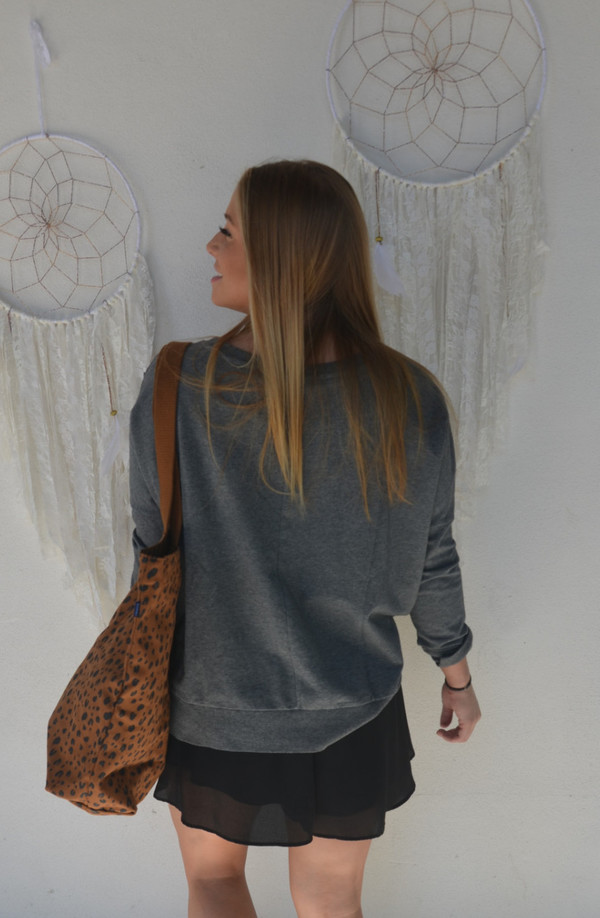 AMUSE SOCIETY Keller Fleece Fringed Sweatshirt | Dark Heather Grey