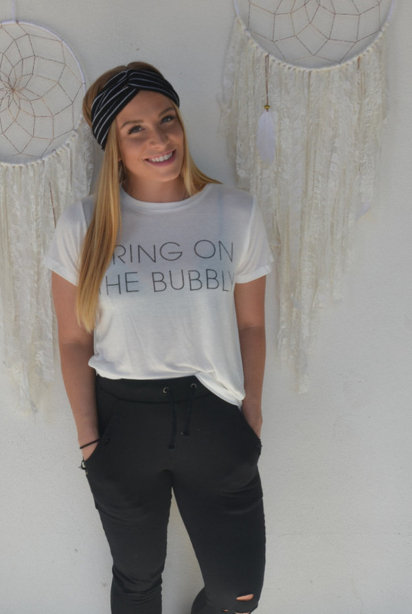 DAYDREAMER LA Bring on the Bubbly Tee   White