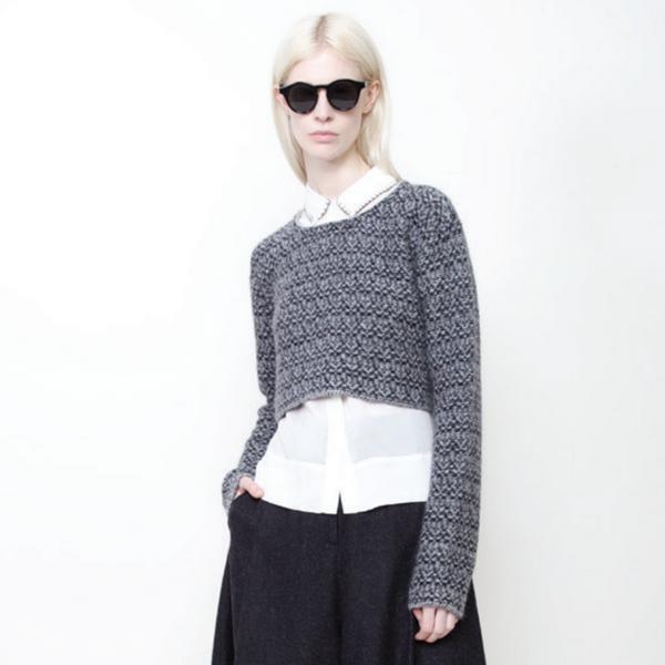 7115 by Szeki Textured Jacquard Cropped Sweater