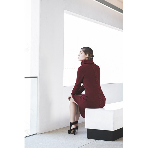 Livlov Burgundy Knitted Dress