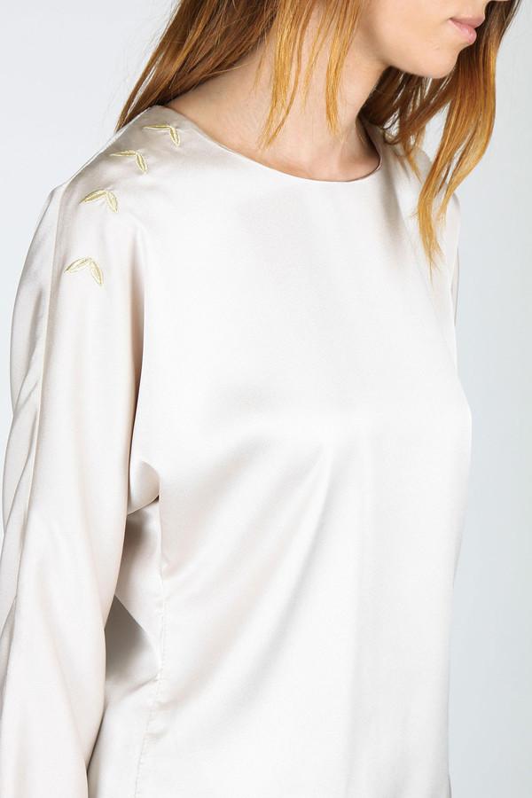 Livlov Cream Embroidered Satin Top