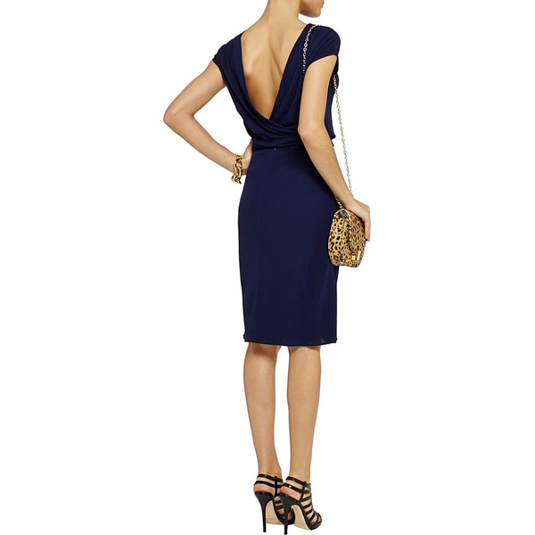 Navy draped back jersey dress