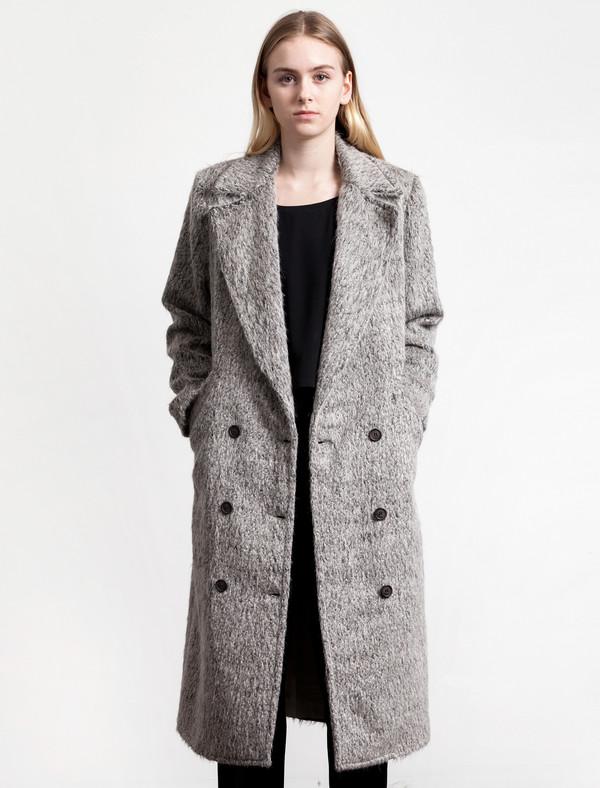 Etienne Deroeux Maya Caban Coat Grey