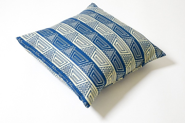 Osei Duro Wax Print Pillow in Blue Geo