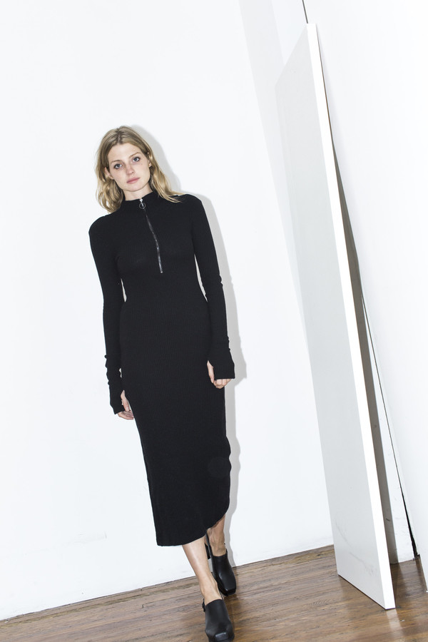Assembly New York Black Ribbed Maxi Dress