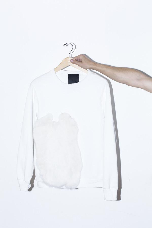 Men's Assembly New York White Fur Sweatshirt