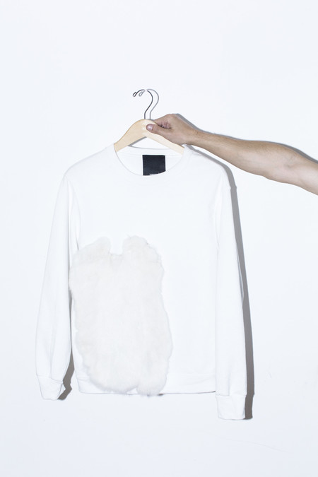 Men's Assembly New York White Fur Sweatshirt