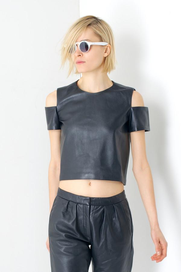 MARKOO Black 'Kasha' Leather Cut-out Top