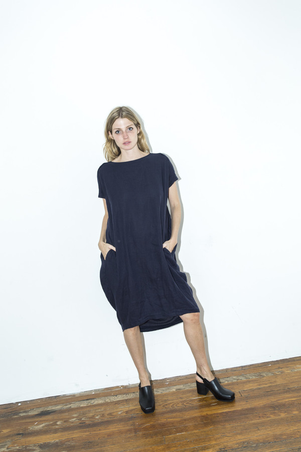 Black Crane Navy Cocoon Dress