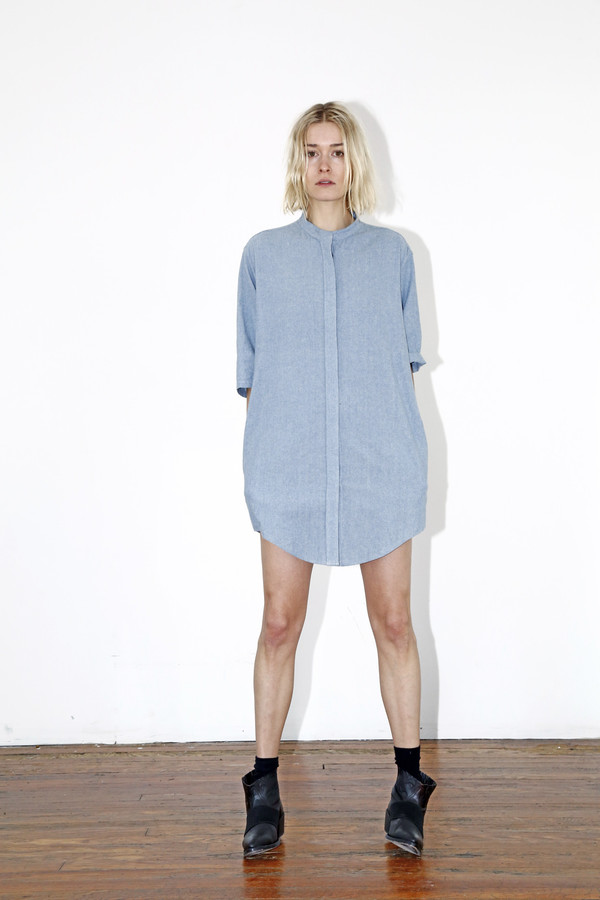 Assembly New York Chambray No Collar Dress