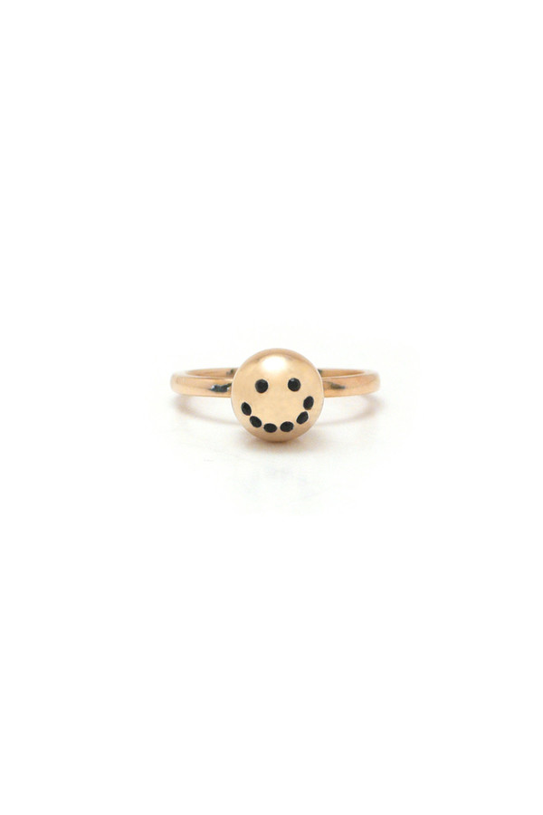 Nektar de Stagni Gold/Zircon Stone Smiley Emoticon Ring