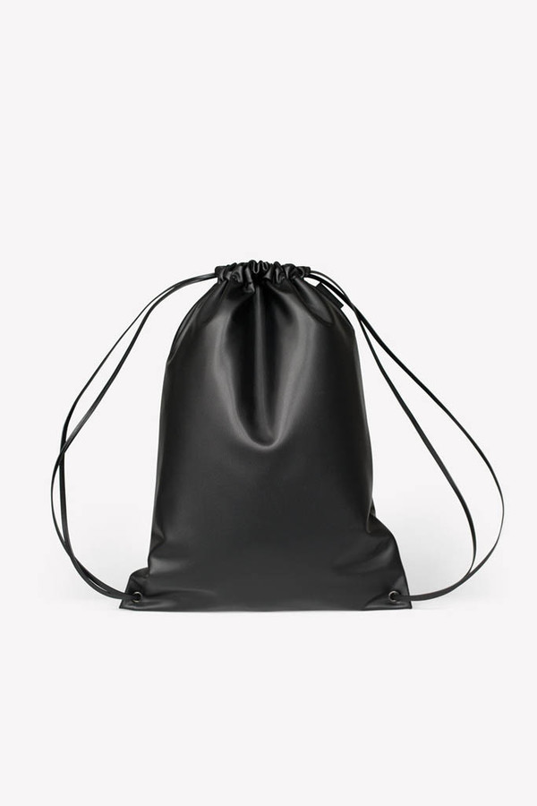 Unisex Maharam Black Minimal Cinch Bag