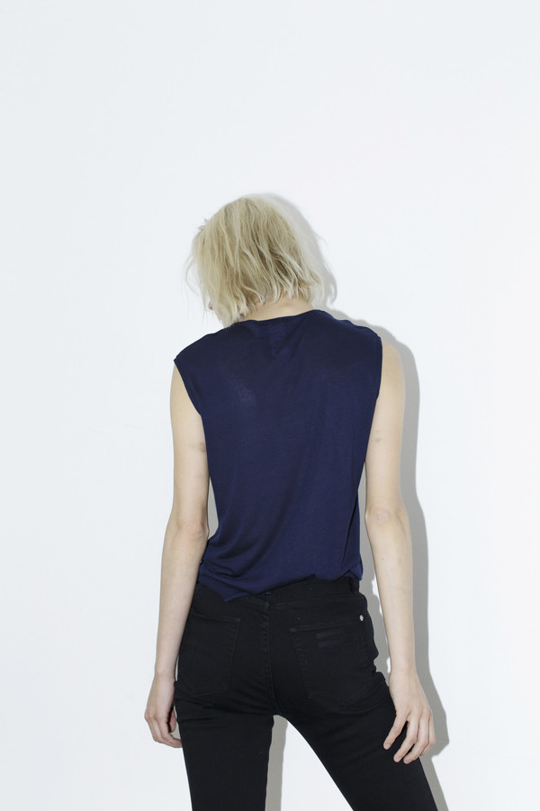Assembly New York Navy Sleeveless Pocket Tee