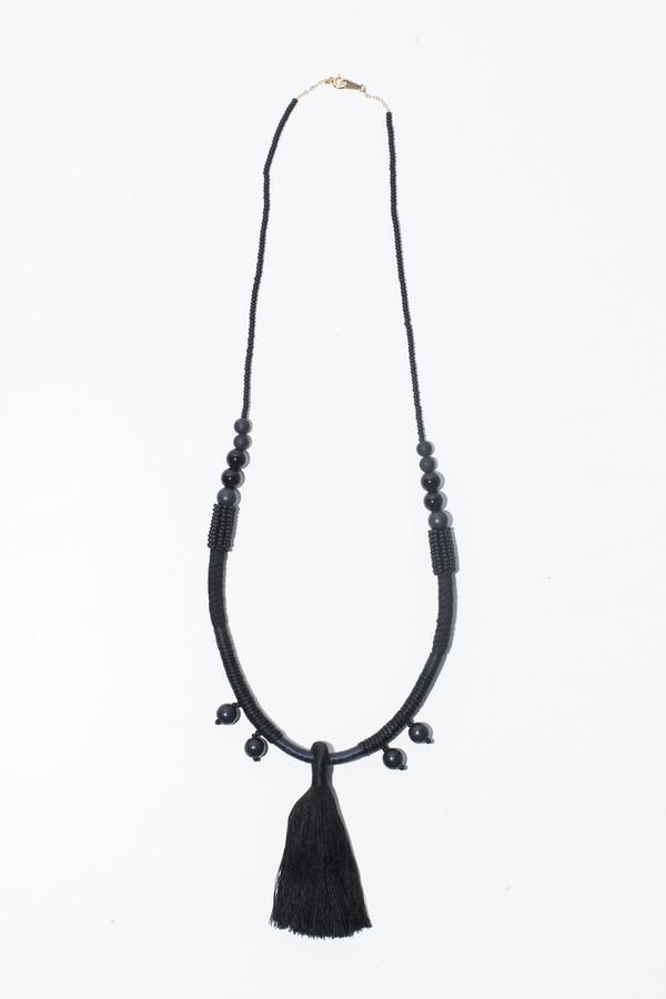 Ora-C Dom Black Large Middle Tassel Necklace
