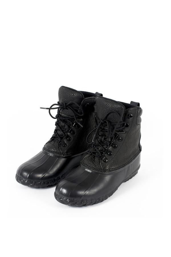 Unisex Sisii Black Leather Bean Boots