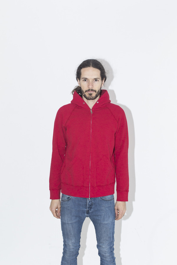 Men's Velva Sheen Red Zip Sweatshirt