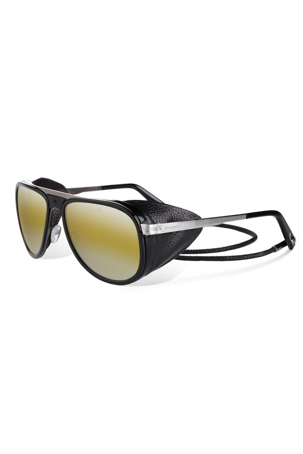 Men's Vuarnet Shiny Black Corded Leather Sunglasses