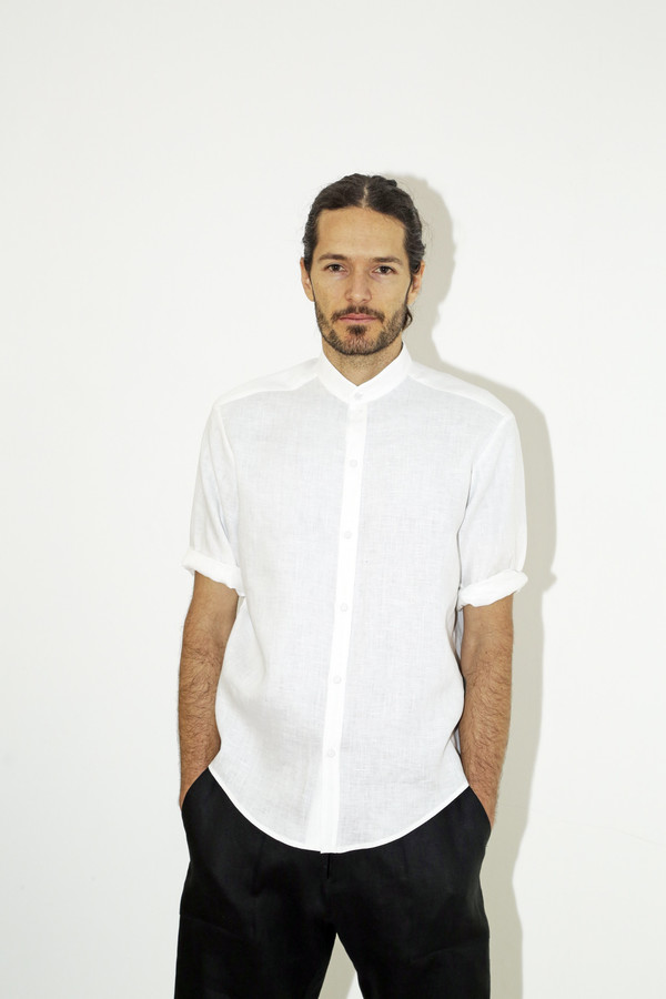 Men's Assembly White Linen No Collar Shirt