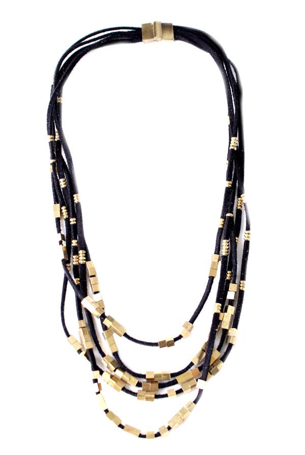 Serefina Suede Abacus Necklace in Black