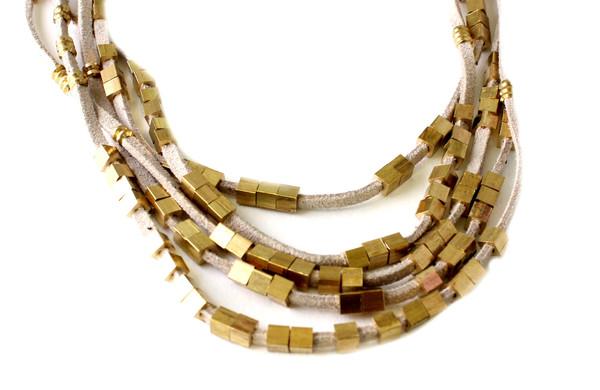 Serefina Suede Abacus Necklace in Grey