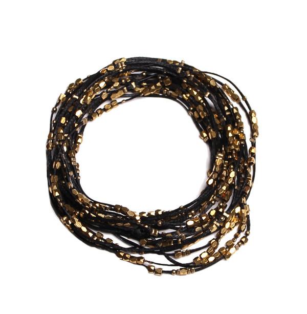 Serefina Glistening Four Strands Necklace Black