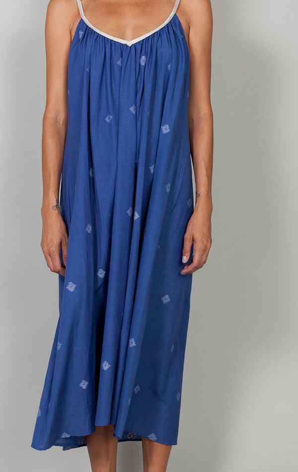 Two Mediterranean Blue Khadi Dress