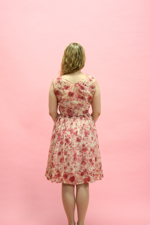 Steel Magnolias Vintage Pink Rose Floral Party Dress