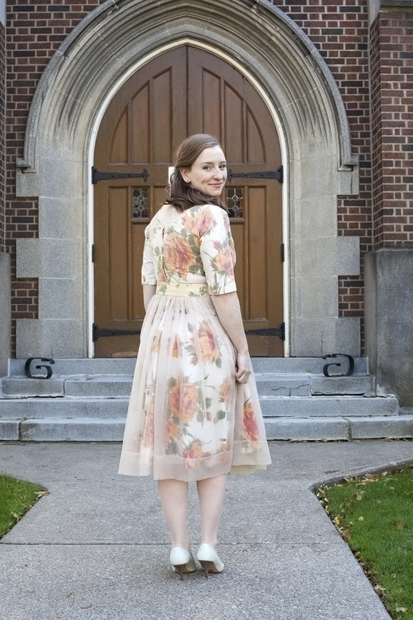 White Elephant Vintage Peach Floral Dress