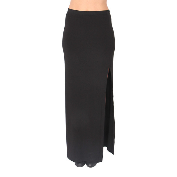 T By Alexander Wang Black Matte Jersey Column Skirt