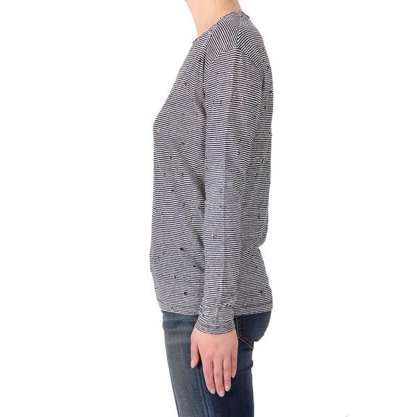 IRO Glaucy Stripe Linen Holey Long Sleeve Top