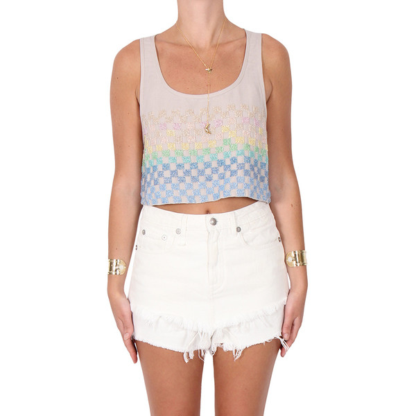 Mara Hoffman Linen Beaded Crop Top