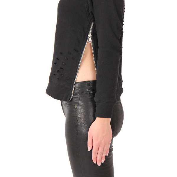 R13 Shredded Side Zip Sweater