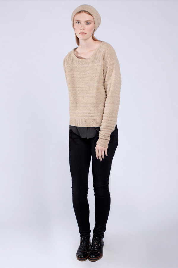 Micaela Greg Nude Sandstone Pullover