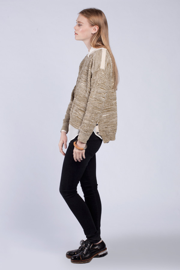 Micaela Greg Olive Marbled Pullover