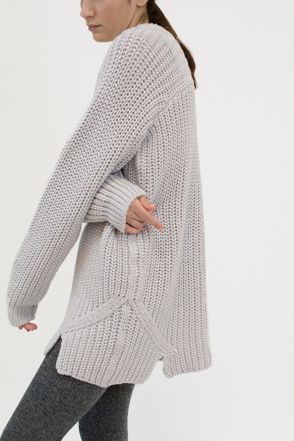Micaela Greg Pale Silver Arch Sweater