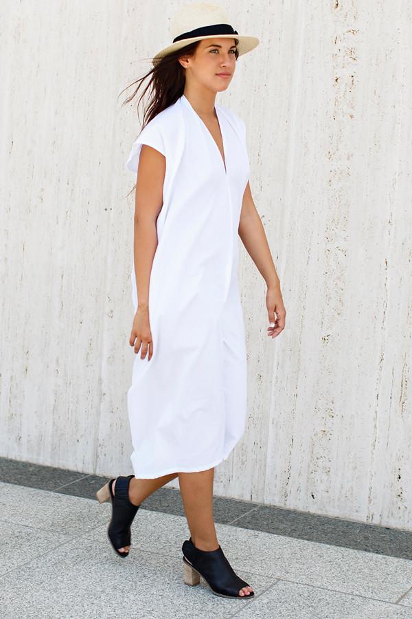 Miranda Bennett White Everyday Dress, Oversized Cotton