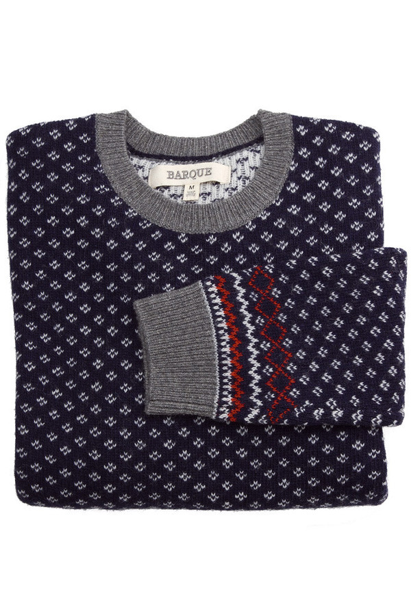 Men's Barque Navy Snowflake Sweater
