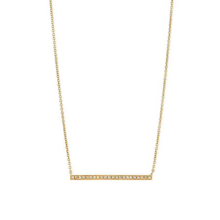 SYDNEY EVAN GOLD + MICROPAVÉ DIAMOND LONG BAR NECKLACE