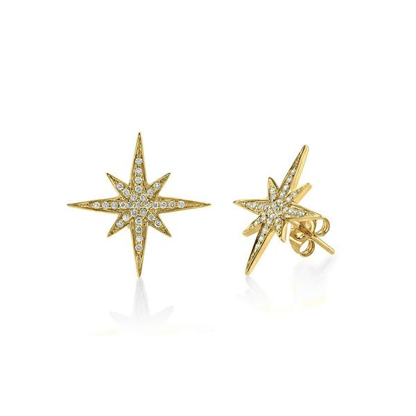SYDNEY EVAN MEDIUM YELLOW GOLD + DIAMOND STARBURST STUDS