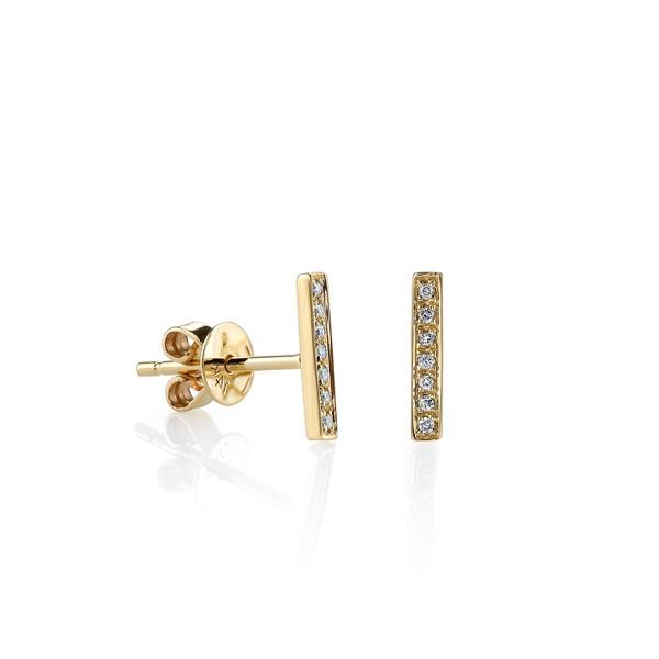 SYDNEY EVAN SMALL PAVÉ DIAMOND BAR STUD EARRINGS